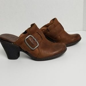 Born BOC Brown Leather Slide Buckle Heeled Mule 6